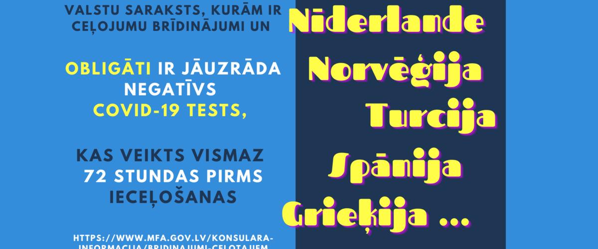 Valstu saraksts kur obligāti ir jāuzrāda negatīvs COVID-19 tests  pirms ieceļošanas