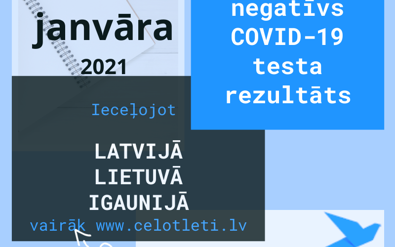 Negatīvs TESTS COVID -19 ieceļojot Latvijā, Lietuvā un Igaunijā no 15. janvāra